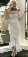 Sexy Long Sleeves Off the Shoulder Lace Mermaid Ankle Length Prom Dresses, PM0776