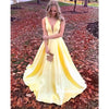 Yellow V Neck A Line Satin Long Prom Dresses SPE143