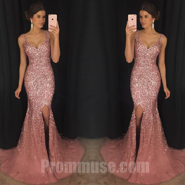 Sexy Heavy Beaded Sparkle Side Split Mermaid Long Prom Dresses, PM1023