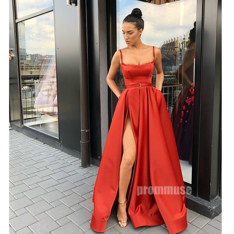 Elegant Side Slit Straight Neckline Long Prom Dresses SPE163
