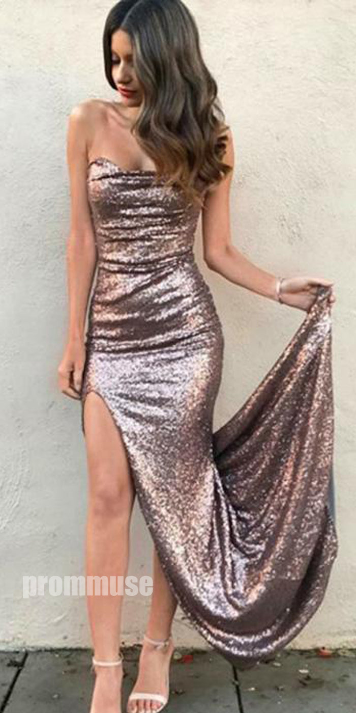 Popular Sequin Sexy Cheap Simple Side Slit Long Prom Bridesmaid Dresses, PM0815