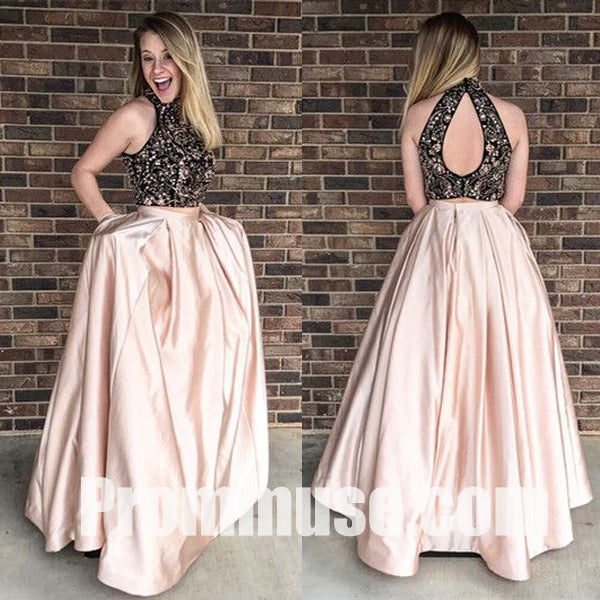 Popular 2 Pieces Beaded Top Inexpensive Long Evening Prom Dresses, PM1022