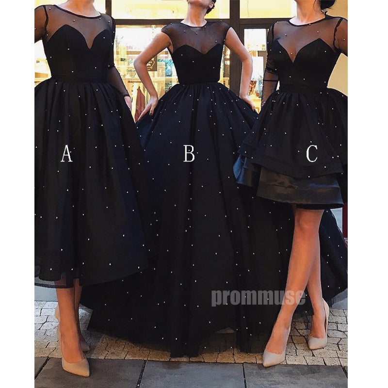 Black Elegant Beaded Charming Affordable Prom Dresses SPE150