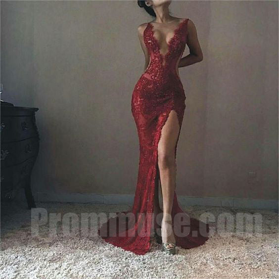 Burgundy Deep V Neck Sexy Lace Side Split Inexpensive Long Prom Dresses, PM1021