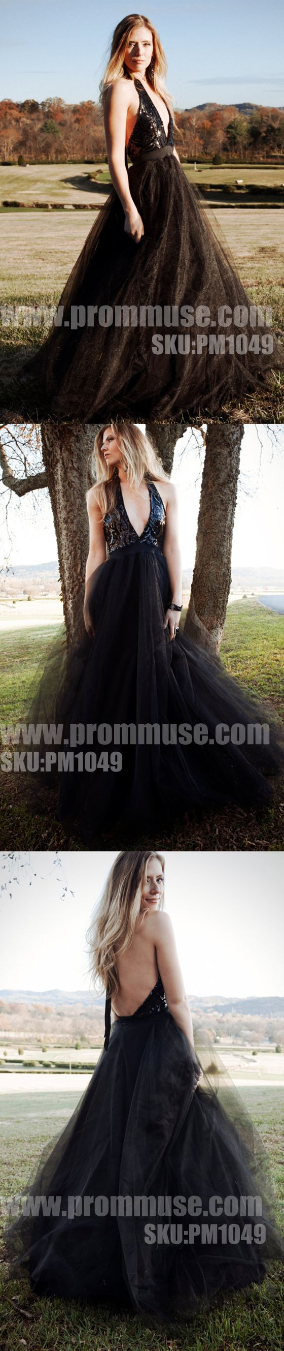 Black Halter V Neck Sexy Cheap Formal Long Evening Prom Dresses, PM1049