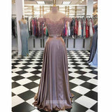 Two Pieces Off the Shoulder Lace Long Prom Dresses SPE171