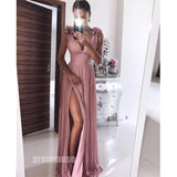 A Line Formal Side Slit V Neck Long Bridesmaid Prom Dresses SPE135