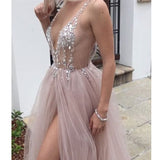 Sexy Beaded Open Back Tulle Split Long Evening Prom Dresses, PM0799