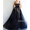 Spaghetti Strap Sweetheart Applique Long Prom Dresses SPE172