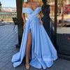 Off the Shoulder Side Slit Blue A Line Long Prom Dresses SPE137