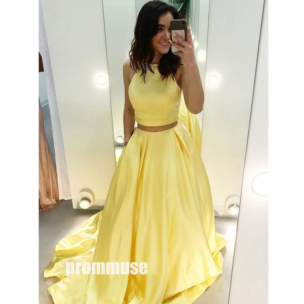 Yellow Two Pieces Satin Long Prom Dresses SPE142