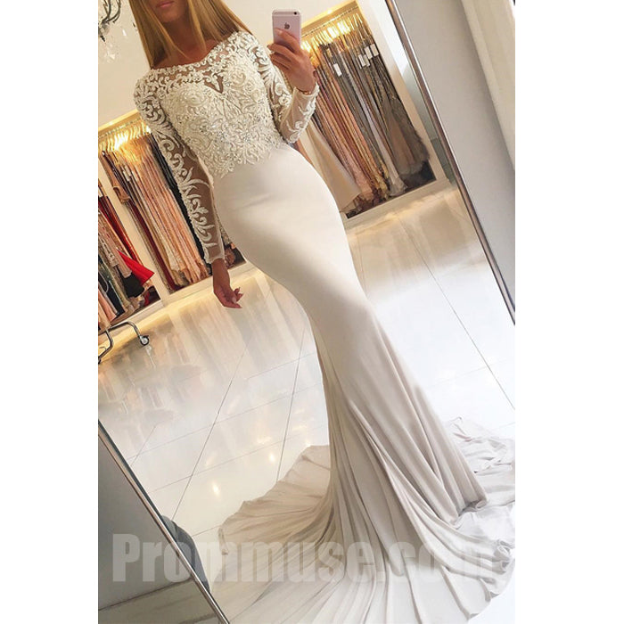 Long Sleeves Lace Mermaid Charming Online Cheap Long Prom Dresses, PM1025