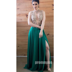 Green Open Sexy Back See Through Top Evening Long Prom Dresses, PM1008