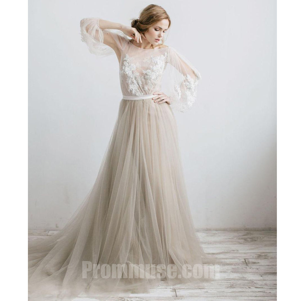 Charming Long Sleeves V Back Tulle Applique Long Prom Dresses, PM1020 - Prom Muse