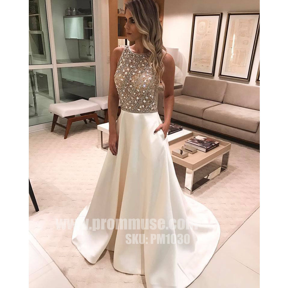 Charming Beaded Top Formal Inexpensive Evening Long Prom Dresses, PM1030
