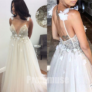 Popular Spaghetti Strap Beaded Tulle Evening Long Prom Dresses, PM1000 - Prom Muse