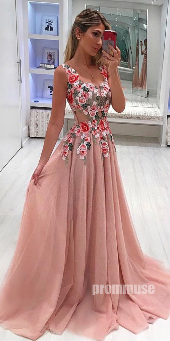 Beautiful Formal Tulle Applique Cheap Online Long Prom Dresses, PM1027