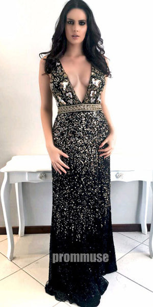 Black V Neck Open Back Beaded Affordable Evening Long Prom Dresses, PM1006