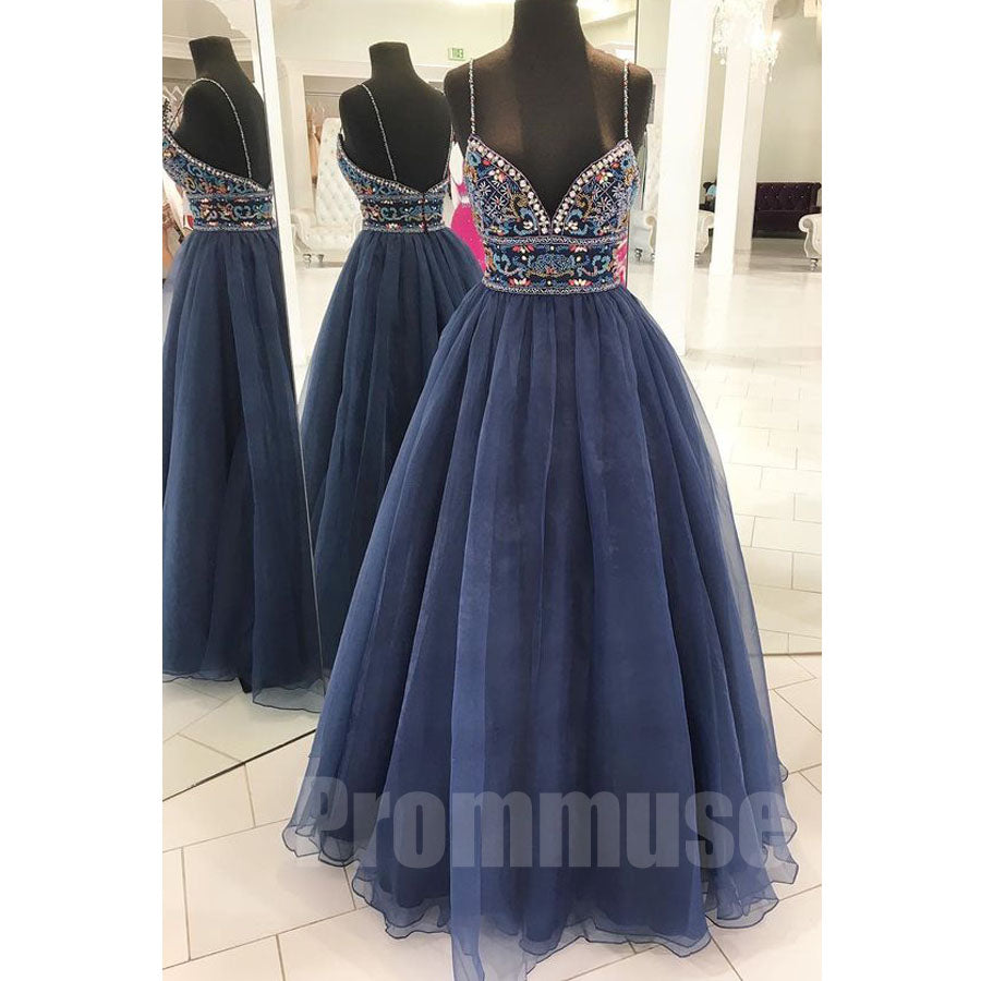 Beaded Spaghetti Strap Sweetheart Evening Long Prom Dresses, PM1002 - Prom Muse