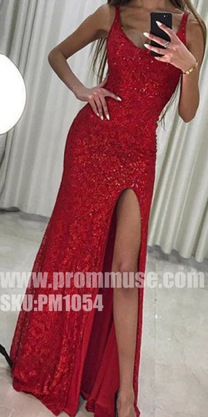 Red Sexy Side Split Popular Cheap Formal Fashion Long Prom Dresses, PM1054 - Prom Muse
