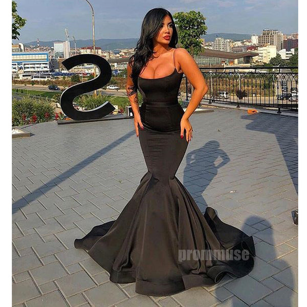 Black Spaghetti Strap Mermaid Long Prom Dresses SPE165