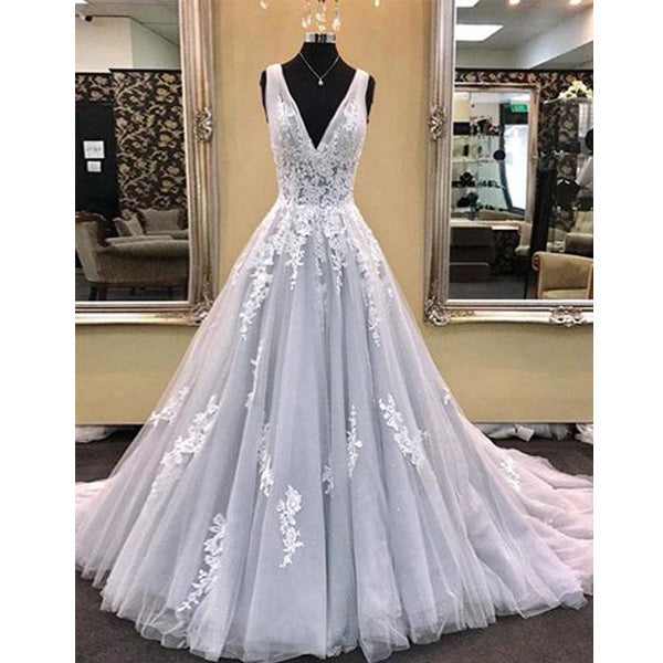 7c2d88c3fa8 Elegant V Neck Tulle Applique Formal Inexpensive Long Prom Dresses ...