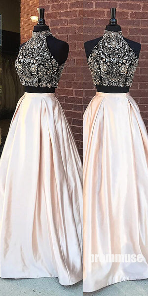 2 Pieces High Neck Beaded Elegant Long Cheap Prom Dresses, PM0789