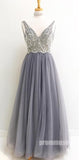 Charming V Neck Beaded Tulle Inexpensive Long Prom Dresses, PM0791