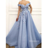 Off the Shoulder Blue A Line Long Prom Dresses SPE155