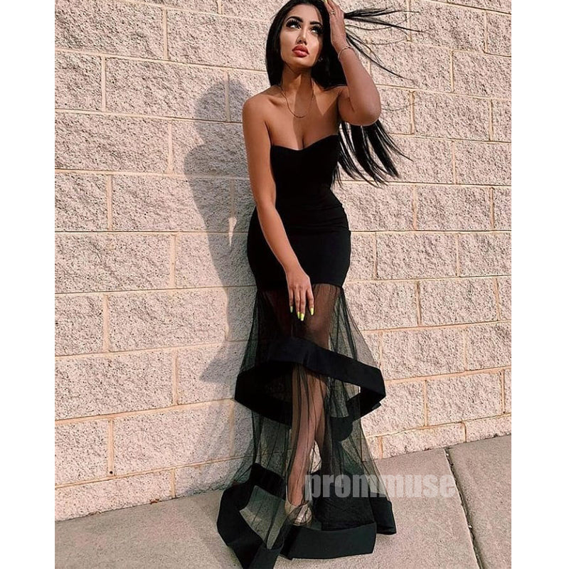 Black Mermaid Sweetheart Long Prom Dresses SPE134