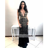 Black V Neck Open Back Beaded Affordable Evening Long Prom Dresses, PM1006 - Prom Muse