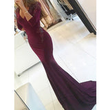 Sexy Long Sleeves Mermaid Elegant Inexpensive Long Prom Dresses, PM0777