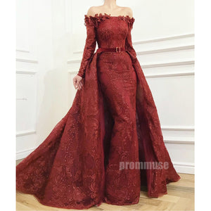 Off the Shoulder Long Sleeves Lace Evening Long Prom Dresses SPE158