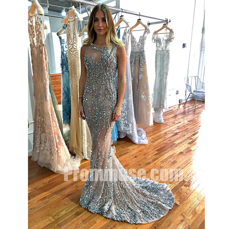 Charming Mermaid Beaded Seen Through Long Prom Dresses, PM1018