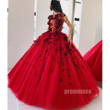 Gorgeous Red Tulle Applique Long Prom Dresses Ball Gown SPE129