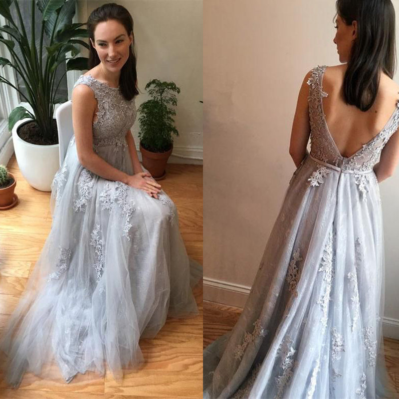 Tulle Applique V Back Formal Cheap Long Evening Prom Dresses, PM0798