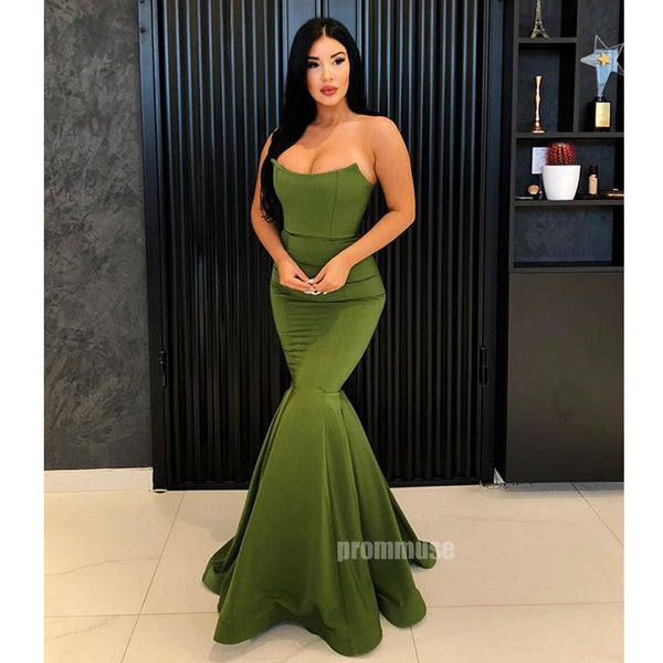 Simple Mermaid Green Elegant Cheap Long Prom Dresses SPE161