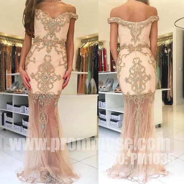 Off the Shoulder Mermaid Charming Online Cheap Long Prom Dresses, PM1035 - Prom Muse