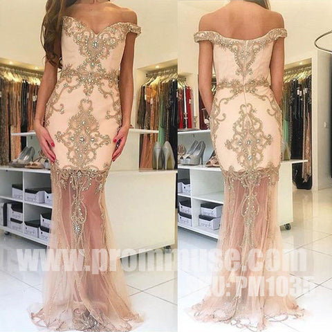 Off the Shoulder Mermaid Charming Online Cheap Long Prom Dresses, PM1035