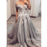 Off the Shoulder Tulle Applique Grey Long Prom Dresses SPE145