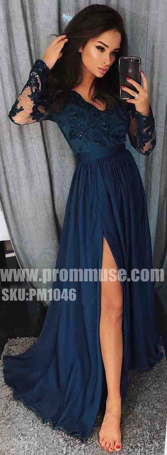 Popular Side Split Long Sleeves Cheap Formal Long Prom Dresses, PM1046 - Prom Muse