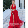Two Pieces Red Halter Split Sexy Cheap Popular Long Prom Dresses, PM1037