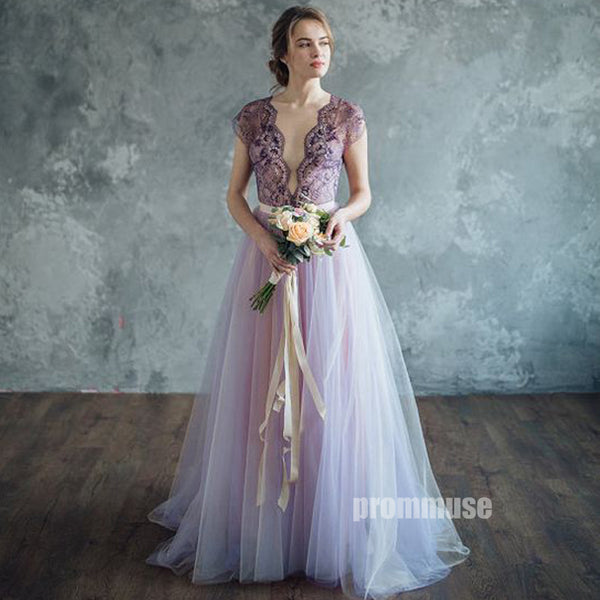 Cap Sleeves Deep V Neck Lace Tulle V Back Evening Long Prom Dresses, PM0804