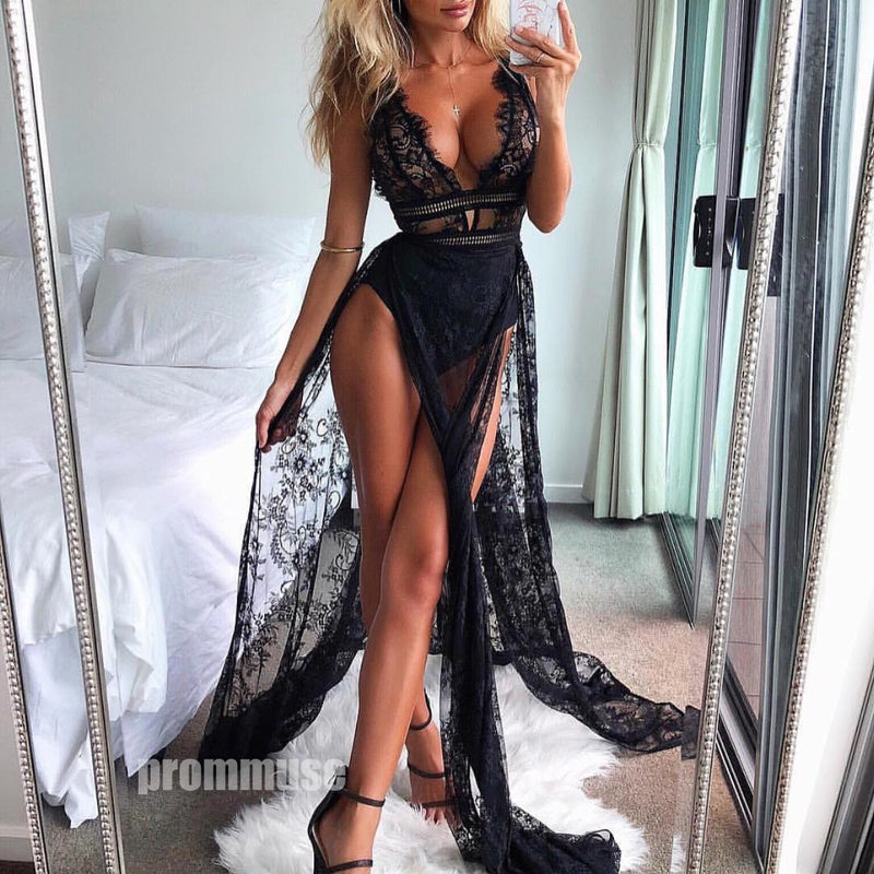 Sexy Black Seen Through Lace A Line V Neck Long Prom Dresses SPE117