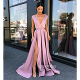 V Neck Side Slit Satin Cheap Long Prom Dresses SPE167