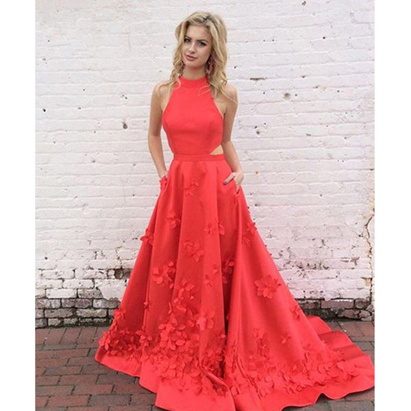 Popular Red Formal A Line Unique On Sale Cheap Long Prom Dresses, PT103 - Prom Muse