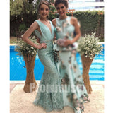 Unique V Neck Chiffon Top Lace Mermaid Evening Long Prom Dresses, PM1011