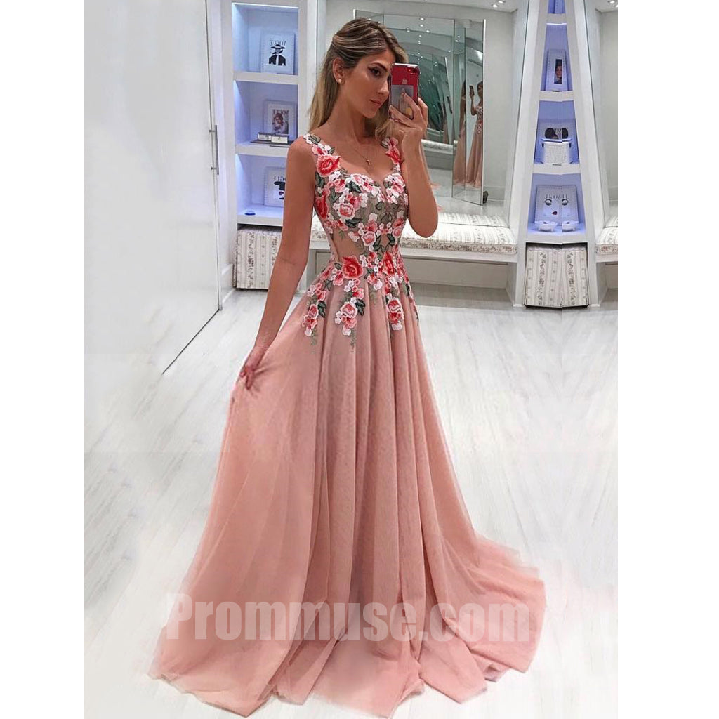 Beautiful Formal Tulle Applique Cheap Online Long Prom Dresses ...