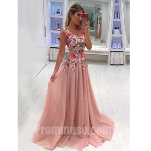 Beautiful Formal Tulle Applique Cheap Online Long Prom Dresses, PM1027 - Prom Muse