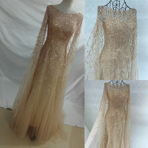 Gorgeous Long Sleeves Heavy Beaded Charming Long Prom Dresses, PM0796